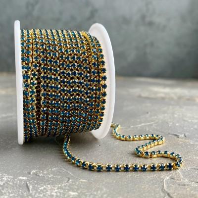 Стразовая цепь бирюзовый в золоте (SS10)