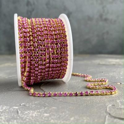 Стразовая цепь розовый в золоте (SS10)