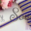 Стразы на силиконовой ленте с цепочкой, синий в золоте