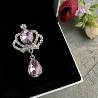 """Серединка ювелирная с подвеской """"Корона"""", серебро/светло-розовый"""