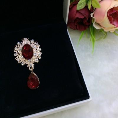 Серединка ювелирная с подвеской, темно-красный/золото