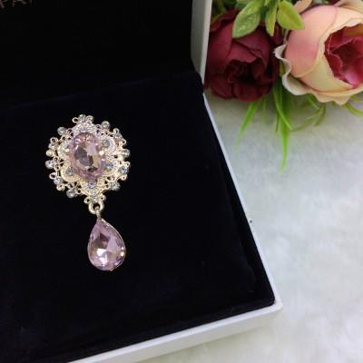 Серединка ювелирная с подвеской, розовый/золото