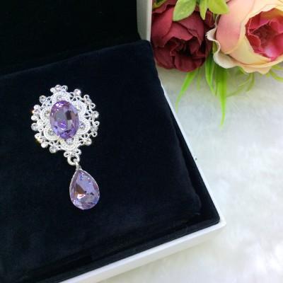 Серединка ювелирная с подвеской, фиолетовый/серебро