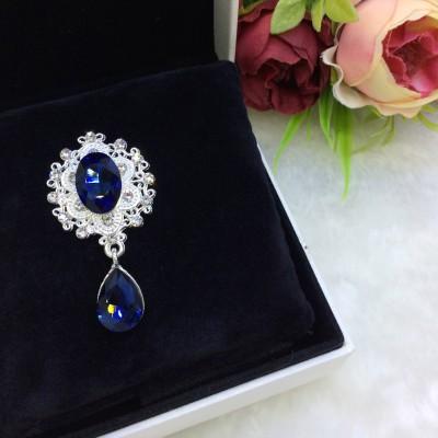 Серединка ювелирная с подвеской, темно-синий/серебро