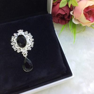 Серединка ювелирная с подвеской, черный/серебро