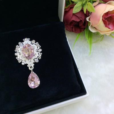 Серединка ювелирная с подвеской, розовый/серебро