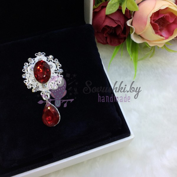 Серединка ювелирная с подвеской, темно-красный/серебро