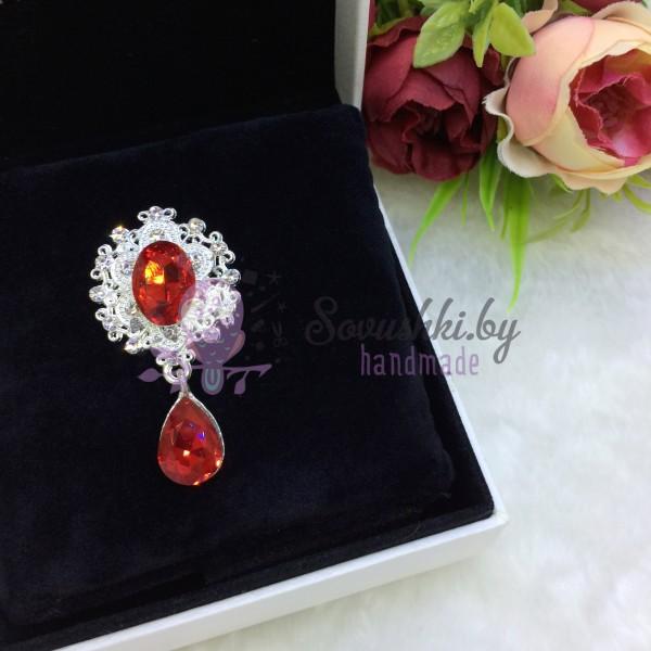 Серединка ювелирная с подвеской, красный/серебро