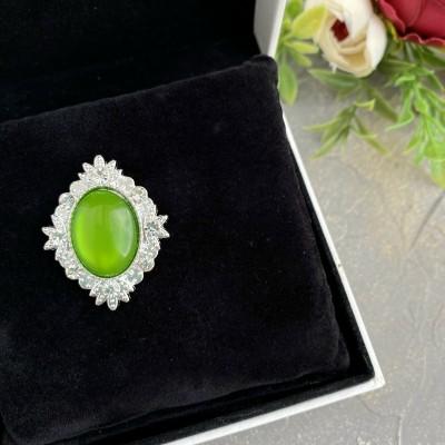 Серединка ювелирная, зеленый/серебро