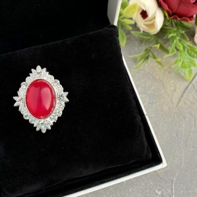 Серединка ювелирная, красный/серебро