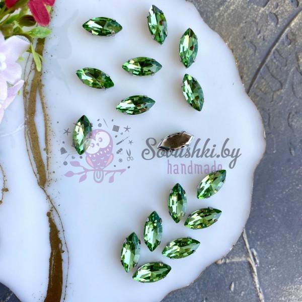 Стразы пришивные 15 мм овал заостренный, салатовый