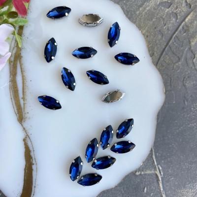 Стразы пришивные 15 мм овал заостренный, темно-синий