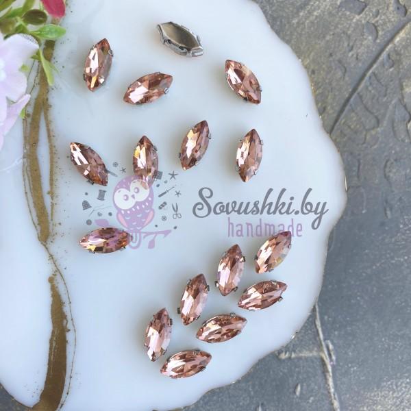 Стразы пришивные 15 мм овал заостренный, розовый персик