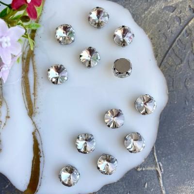 Стразы пришивные 12 мм круг, серебро