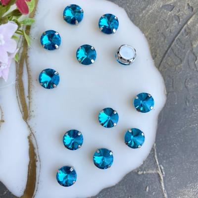 Стразы пришивные 12 мм круг, голубой