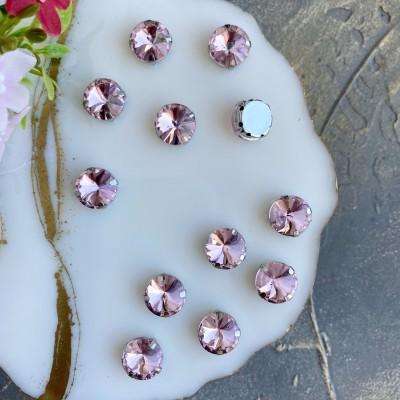 Стразы пришивные 12 мм круг, светло-розовый