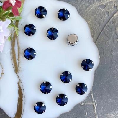 Стразы пришивные 12 мм круг, темно-синий