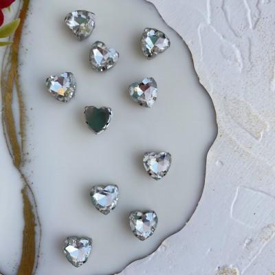 Стразы пришивные 12 мм сердечко, серебро