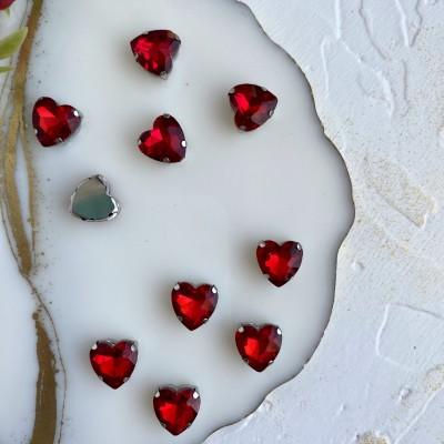 Стразы пришивные 12 мм сердечко, красный