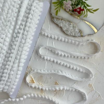 Тесьма отделочная с маленькими помпонами, белый