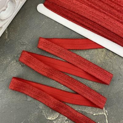 Тесьма эластичная с люрексом, красный