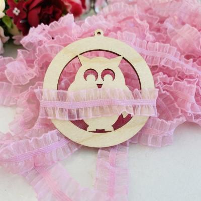 Тесьма-резинка из органзы 15 мм, розовый