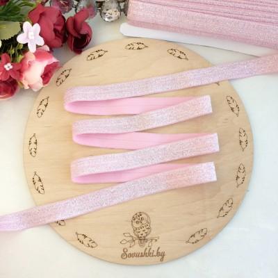 Тесьма эластичная с люрексом, розовый