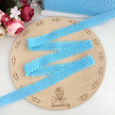 Тесьма-резинка с кружевом, голубой