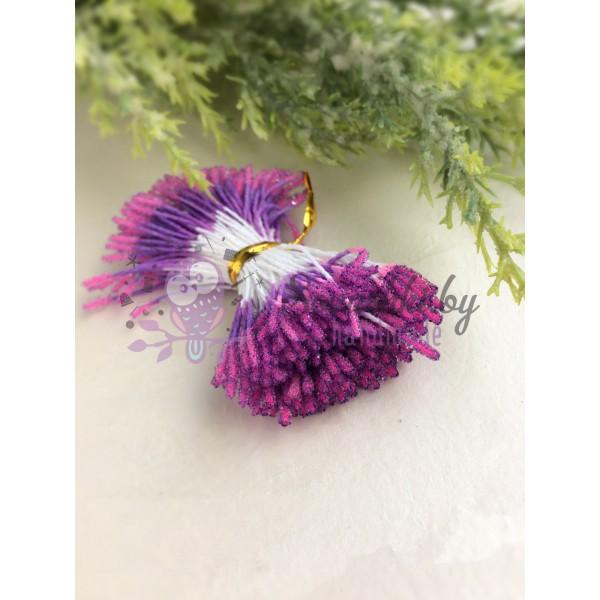 Тычинки пушистые в сахарной обсыпке ярко-фиолетовые