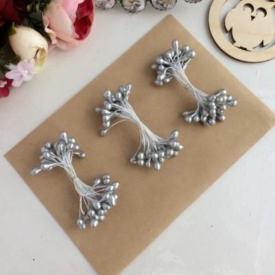 Тычинки гладкие глянцевые серебрянные (25 нитей)