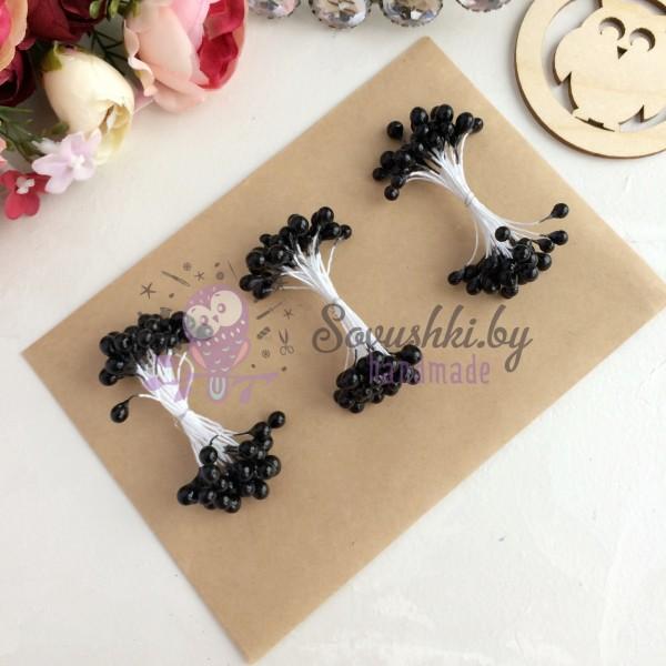 Тычинки гладкие глянцевые черные (25 нитей)