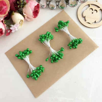 Тычинки гладкие глянцевые зеленые (25 нитей)