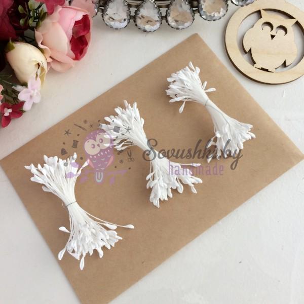 Тычинки для цветов белые матовые ( 75 нитей)