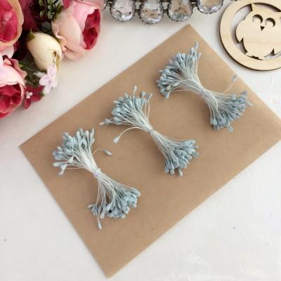 Тычинки для цветов пастельно-голубые матовые ( 75 нитей)