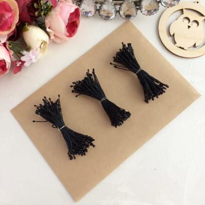 Тычинки для цветов черные мелкие (75 нитей)
